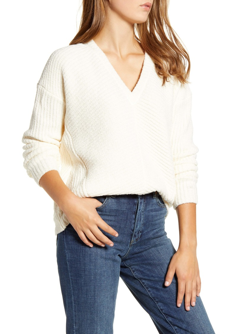 Lucky Brand Chevron Ribbed Chenille Sweater
