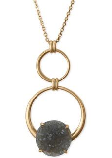 "Lucky Brand Circle & Druzy Stone Pendant Necklace, 32"" + 2"" extender"