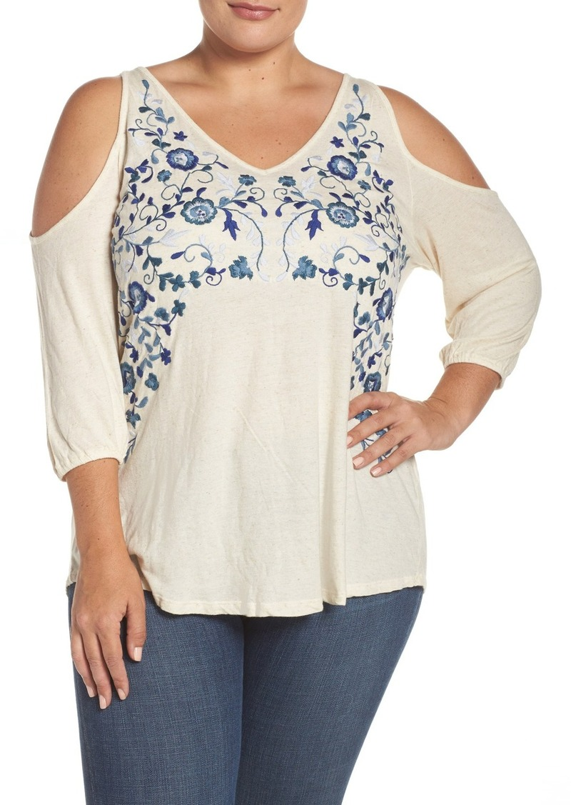Lucky Brand Cold Shoulder Embroidered Peasant Top (Plus Size)