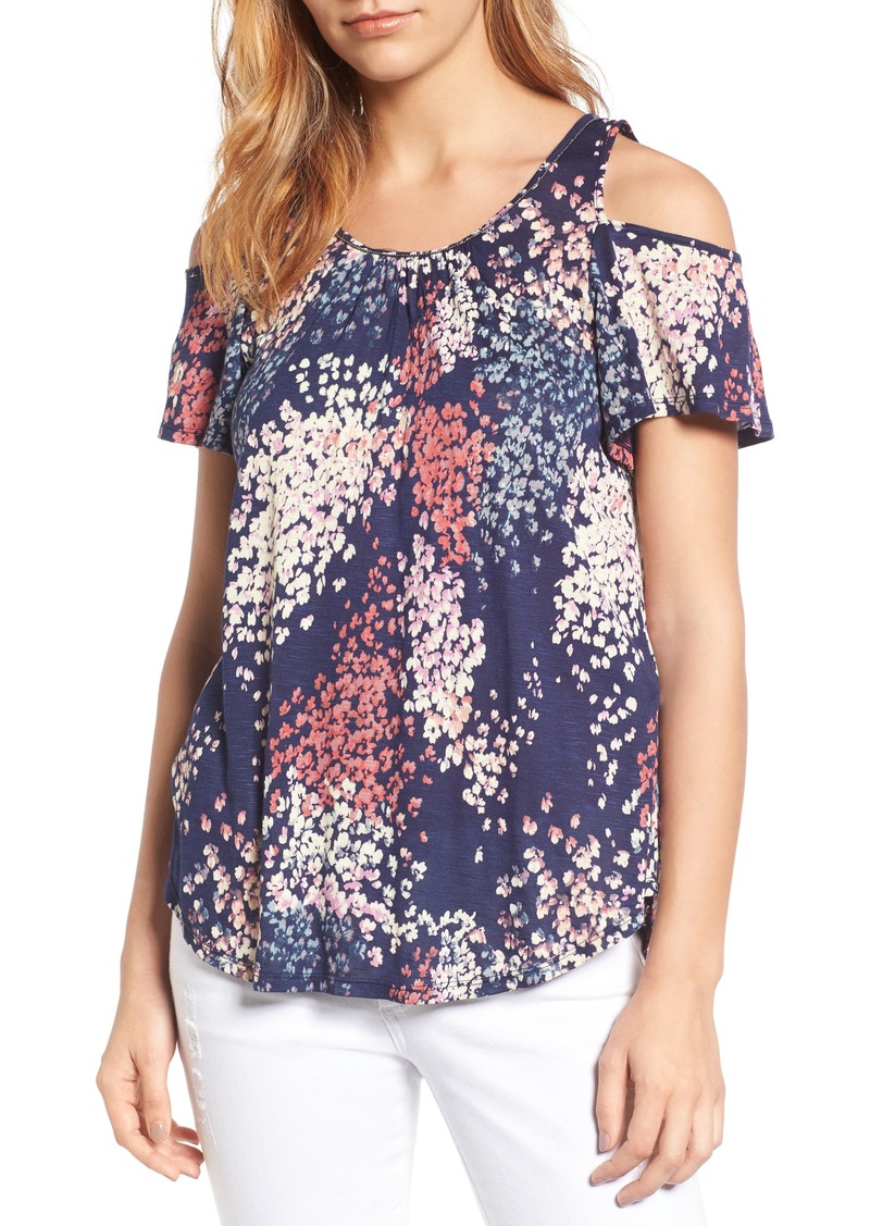 b437cab269df16 Lucky Brand Lucky Brand Cold Shoulder Floral Top