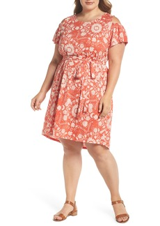 Lucky Brand Cold Shoulder Print Belted Dress (Plus Size)