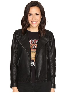 Lucky Brand Collarless Leather Jacket