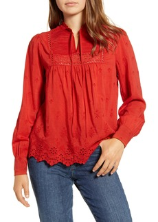 Lucky Brand Cora Pintuck Embroidered Eyelet Peasant Blouse