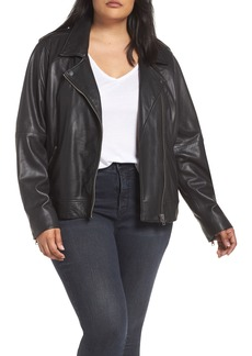 Lucky Brand Core Leather Moto Jacket (Plus Size)