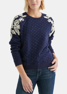 Lucky Brand Cotton Chenille-Patterned Polka-Dot Sweatshirt