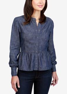 Lucky Brand Cotton Denim Peplum Shirt