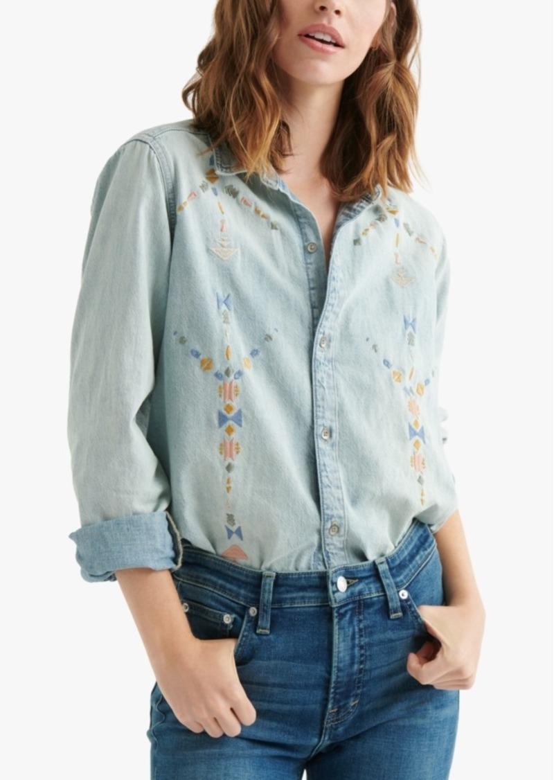 Lucky Brand Cotton Embroidered Boyfriend Shirt