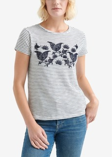 Lucky Brand Cotton Flocked Paisley T-Shirt