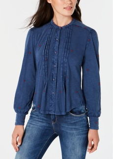 Lucky Brand Cotton Floral-Embroidered Pleated Blouse