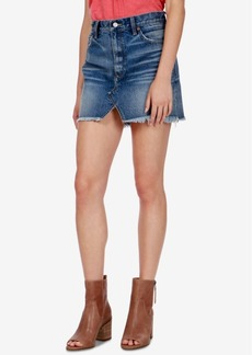 Lucky Brand Cotton Frayed Denim Skirt