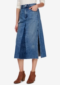Lucky Brand Cotton Frayed Denim Skirt