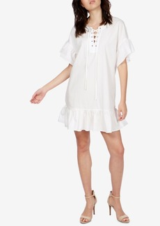 Lucky Brand Cotton Lace-Up Flounce Dress