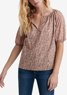 Lucky Brand Cotton Mixed-Media Tie-Neck Top
