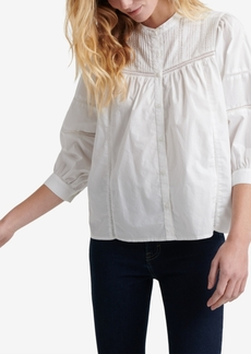 Lucky Brand Cotton Pintucked Peasant Top