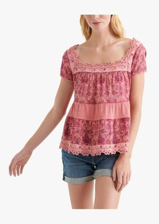Lucky Brand Cotton Printed Crochet-Trim Top