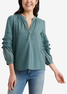 Lucky Brand Cotton Ruffle-Sleeve Peasant Top