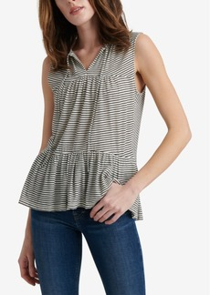 Lucky Brand Cotton Ruffle Striped Top