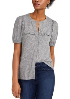 Lucky Brand Cotton Ruffled-Bib Top