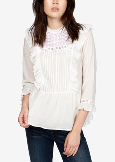 Lucky Brand Cotton Ruffled Crochet-Contrast Top