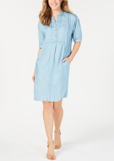 Lucky Brand Cotton Short-Sleeve Shirtdress
