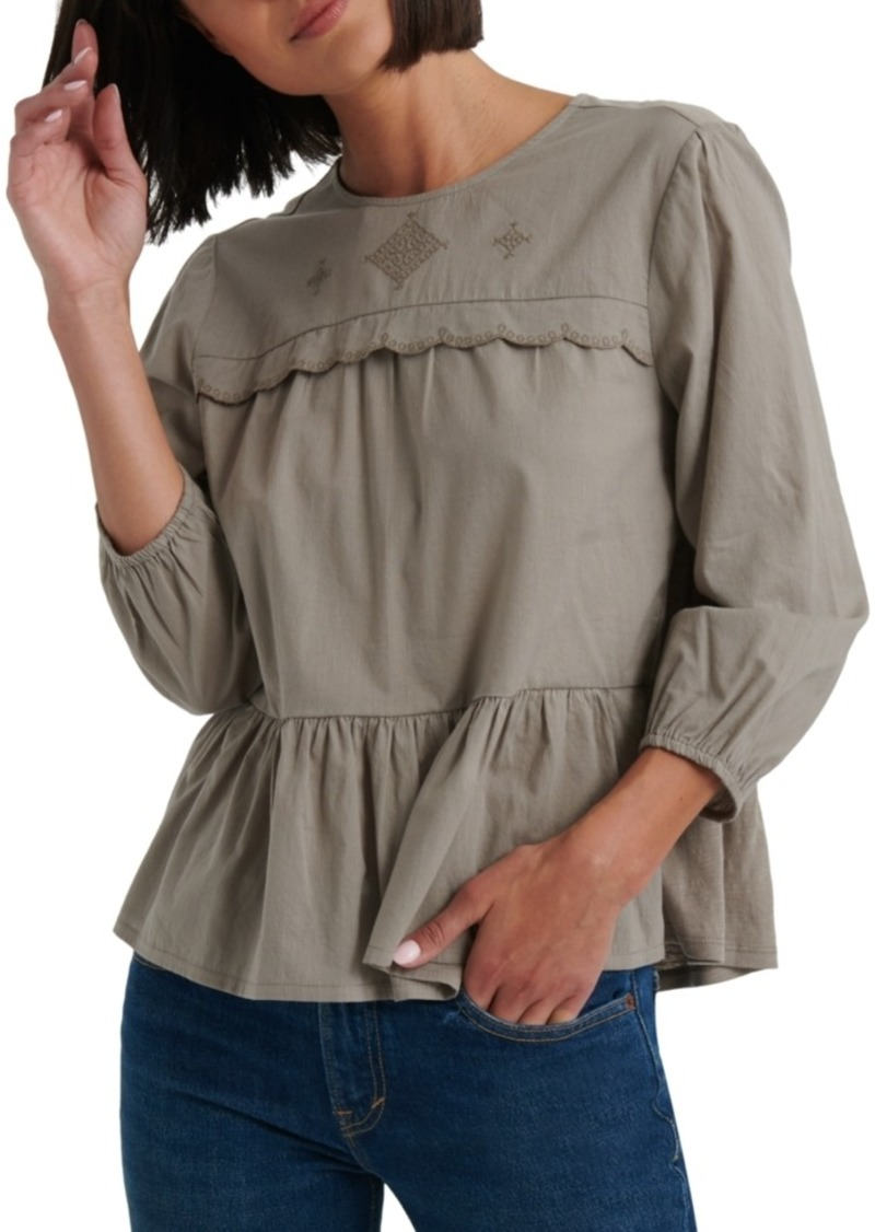 Lucky Brand Cotton Textured Lace-Trim Top
