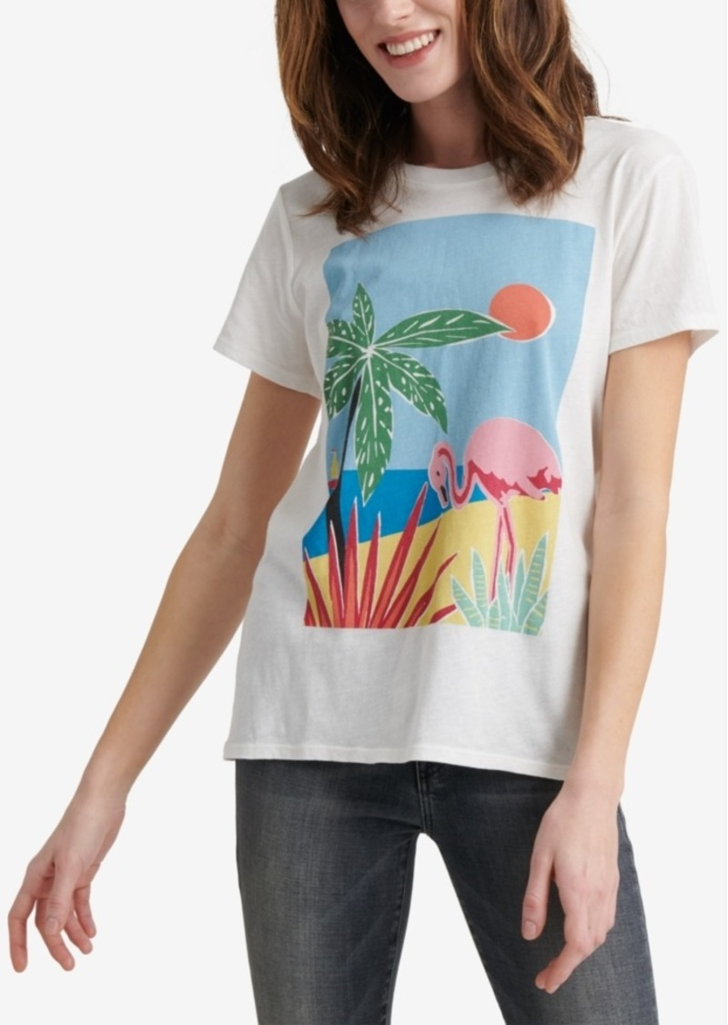 Lucky Brand Cotton Tropical Graphic Crew T-Shirt