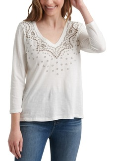 Lucky Brand Cotton V-Neck Embroidered T-Shirt