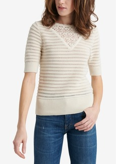 Lucky Brand Crochet Elbow-Sleeve Cotton Sweater