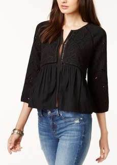 Lucky Brand Crochet-Trim Embroidered Jacket