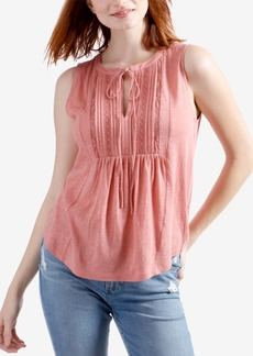 Lucky Brand Crochet-Trim Pintucked Babydoll Top