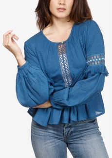 Lucky Brand Cutout Illusion Peasant Top