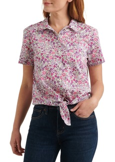 Lucky Brand Ditsy Floral Tie Front Linen Blend Shirt
