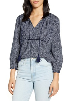 Lucky Brand Ditsy Floral Tie Neck Peasant Top