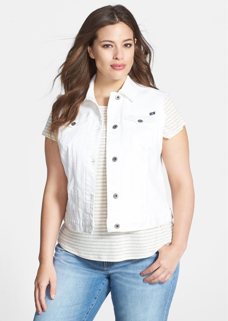 Lucky Brand 'Dixie' White Denim Vest (Plus Size)