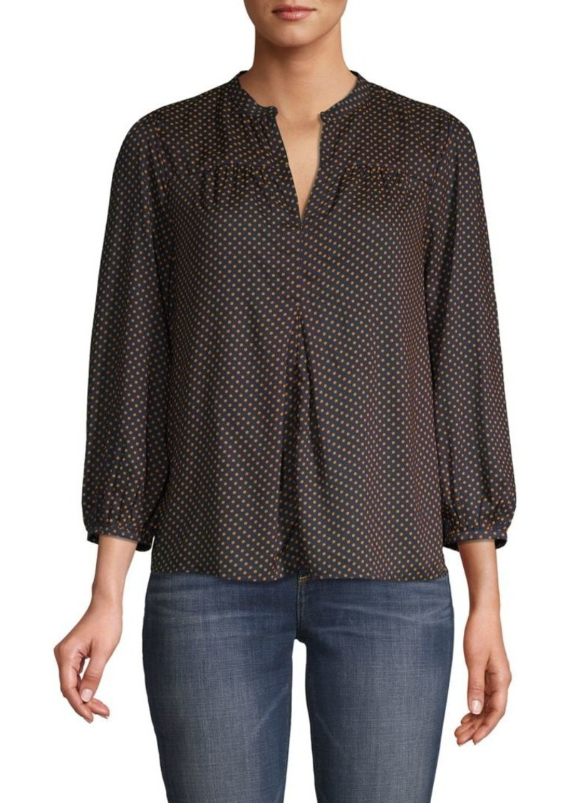 Lucky Brand Dotted Splitneck Peasant Top