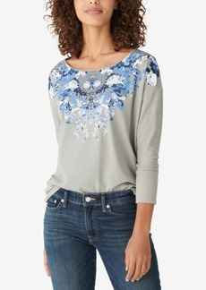 Lucky Brand Drop-Shoulder Floral Long-Sleeve Graphic T-Shirt