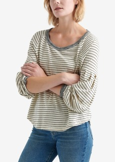 Lucky Brand Dropped Shoulder Striped Top