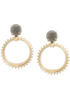 Lucky Brand Druzy Stone & Studded Hoop Drop Earrings