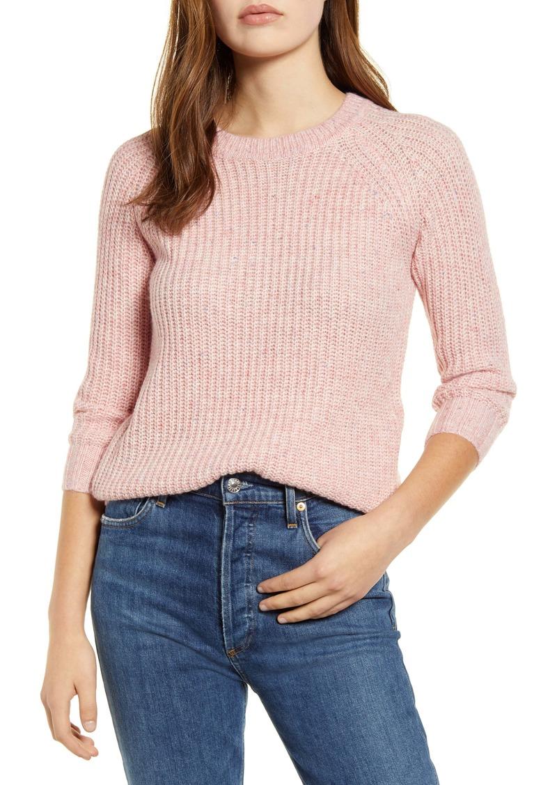 Lucky Brand Ellie Cotton Blend Shaker Stitch Sweater