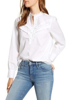 Lucky Brand Elsa Cotton Poplin Popover Blouse