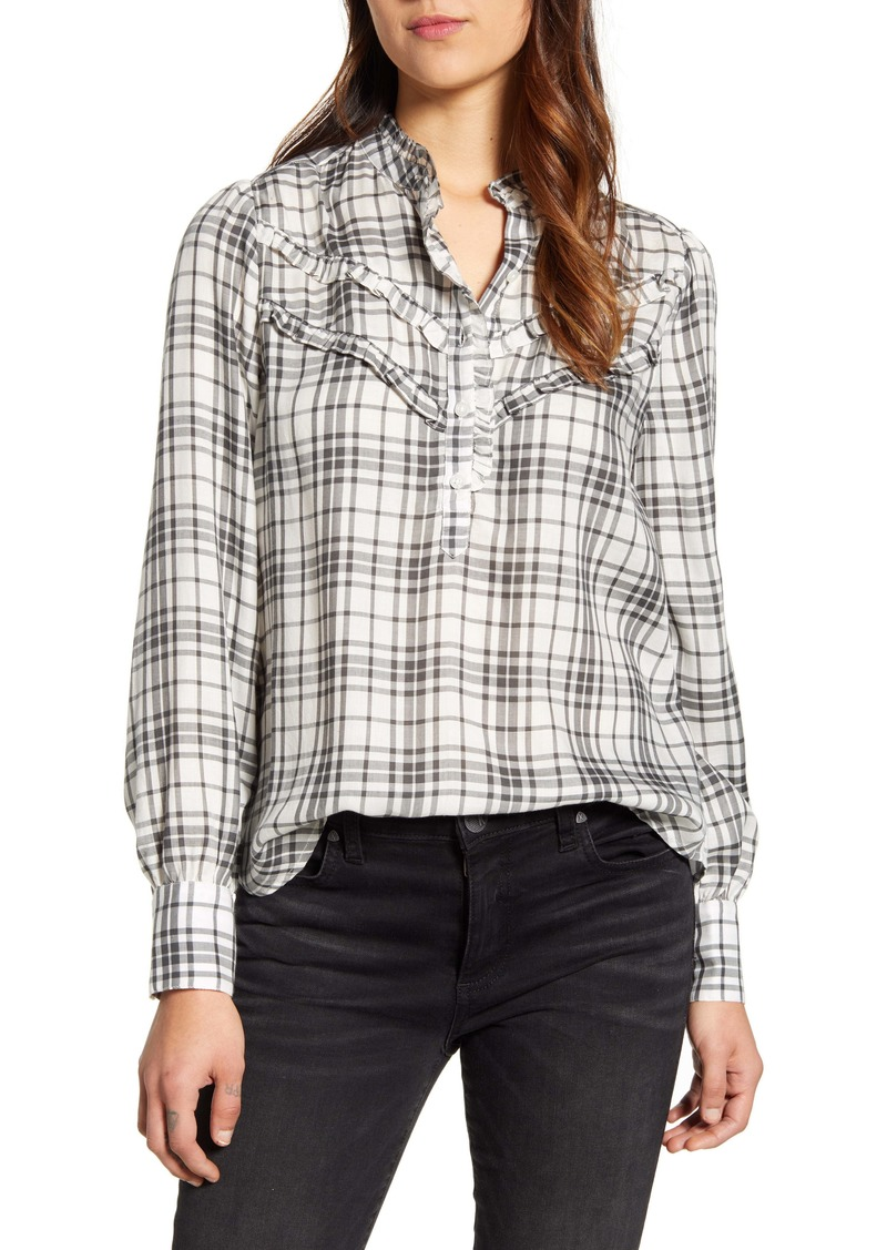 Lucky Brand Elsa Plaid Popover Top