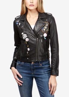 Lucky Brand Embellished Leather Moto Jacket
