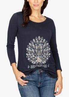 Lucky Brand Embellished Peacock Graphic T-Shirt