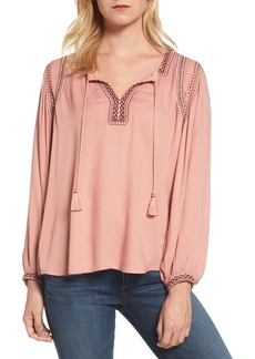 Lucky Brand Embroidered Boho Blouse