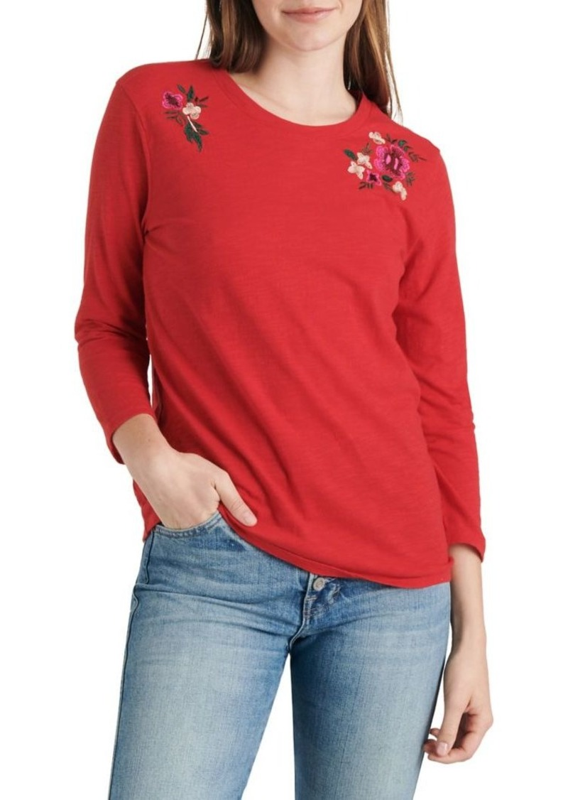 Lucky Brand Embroidered Bouquet Crewneck Top