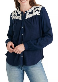 Lucky Brand Embroidered Button-Front Blouse