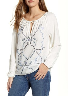 Lucky Brand Embroidered Clip Dot Peasant Top