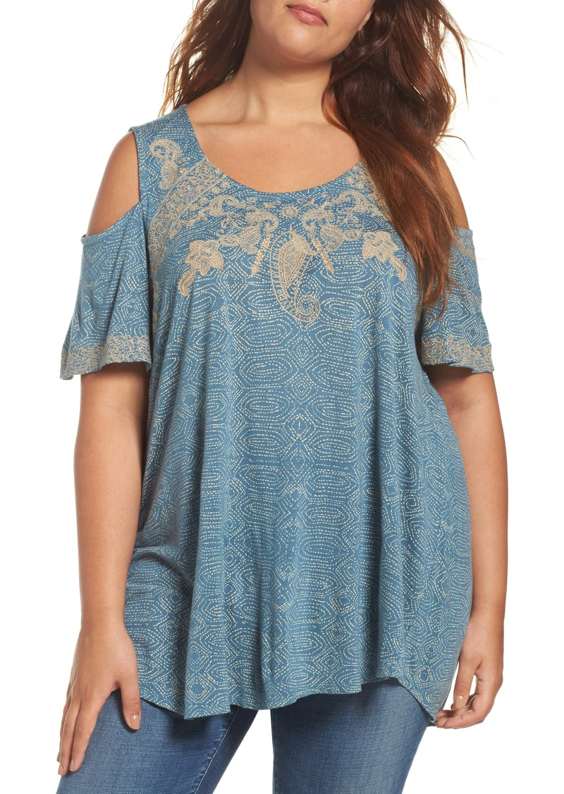 6be83062f5c826 Lucky Brand Lucky Brand Embroidered Cold Shoulder Top (Plus Size ...