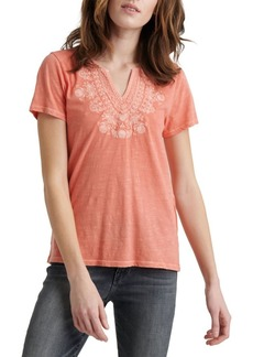 Lucky Brand Embroidered Cotton Tee
