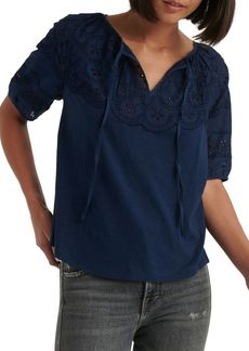 Lucky Brand Embroidered Cutout Knit Top